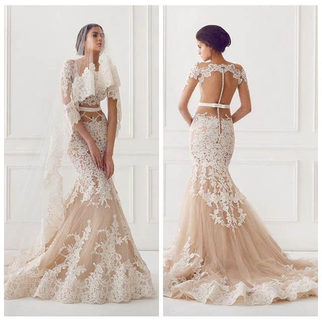 a505ed1af109 Sexy Illusion Nude Wedding Dresses Lace Appliqued Jewel 3/4 Sleeve Bridal  Gowns Court Train Mermaid Wedding Dress