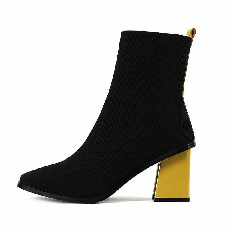 Kadın örgü konfor kalın topuk yarım çizmeler moda yuvarlak ayak üzerinde kayma kadın sonbahar kış Bootis siyah kırmızı sarı