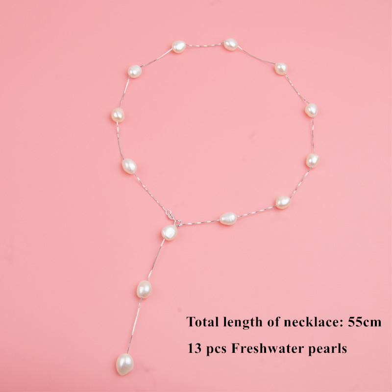 ASHIQI Genuine 925 Sterling Silver Pendant Necklace For Women 9-10mm White Gray Natural Freshwater Baroque Pearl Jewelry