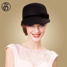 FS Black Wide Brim Felt Hat Australian Wool Fedora Hats For Women Ladies Cloche Bowler Caps Derby Church Hats Chapeau Femme