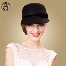 FS Schwarz Breite Krempe Fühlte Hut Australische Wolle Fedora Hüte Für Frauen Damen Cloche Bowler Caps Derby Kirche Hüte Chapeau femme