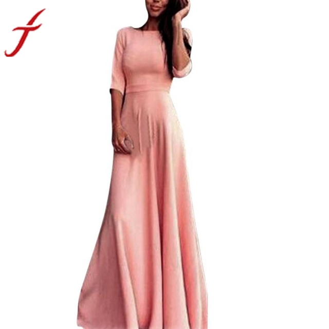 Hot Sale Fashion Pink Women High Waist Long Party Ball Prom Gown ...