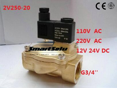 3/4'' Pilot Operated Solenoid Valve 2 Way Brass Valve 2V250-20 Air Oil Water Pneumatic Fluid Control Valves 12v 24v 110v 220v 5 way pilot solenoid valve sy3220 4g 02