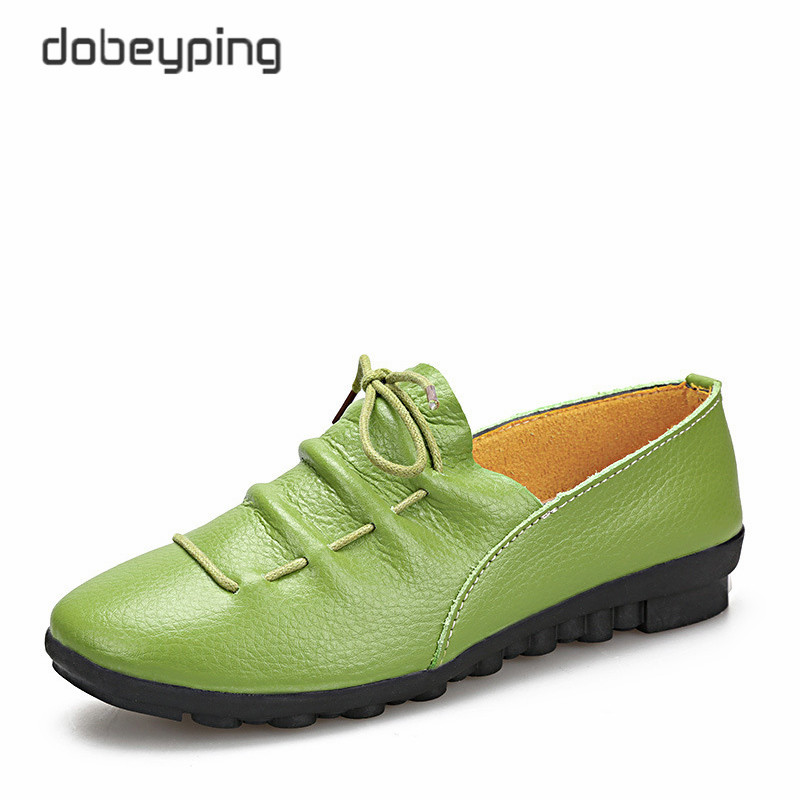 dobeyping New Spring Autumn Shoes Woman Genuine Leather Flats Women Slip On Women's Loafers Female Moccasins Shoe Big Size 35-41 2017 summer women s casual shoes genuine leather woman flats slip on femal loafers lady boat shoe big size 35 44 in 8 colors