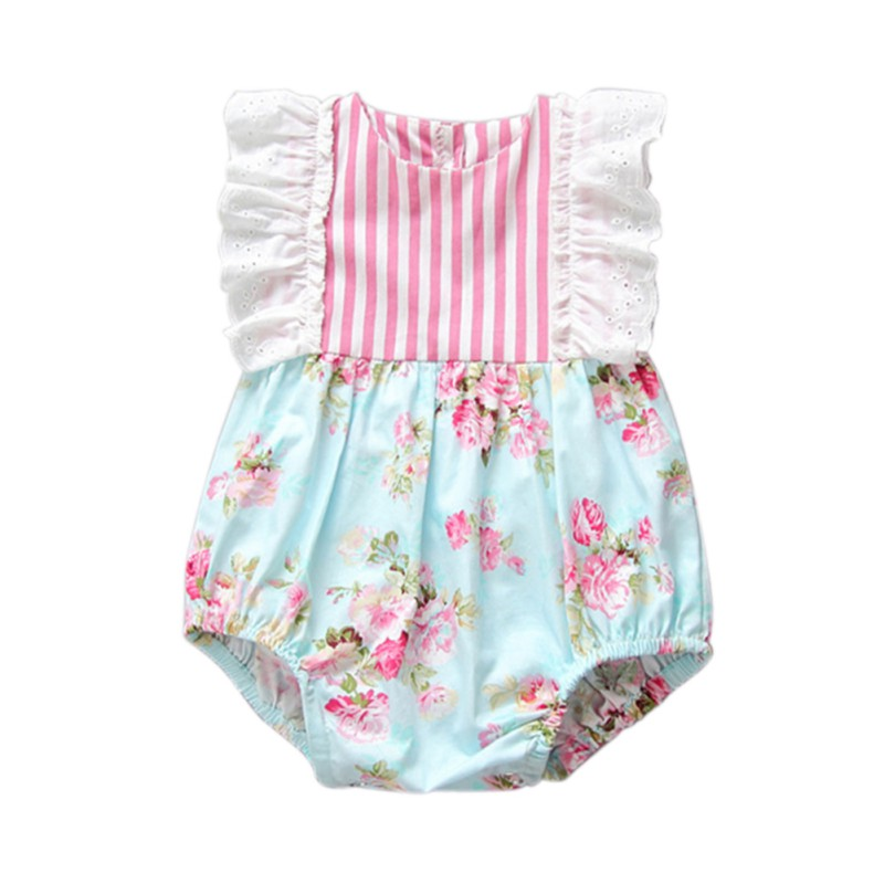 Summer Girl Cotton Romper Floral Striped Puff Sleeve Baby Jumpsuit Overall