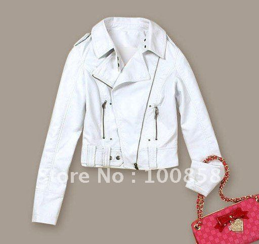 [cc0625] exquisite White Jacket, faux leather;zip-up,cropped women white leather Jacket, Biker jacket