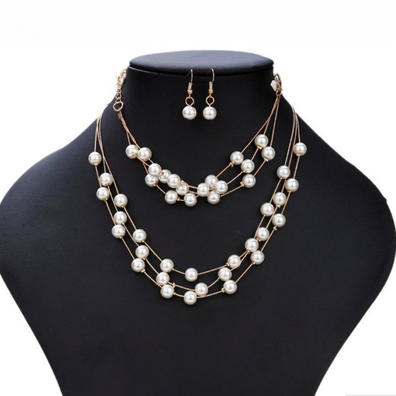 Free shipping 2017 New Imitation Pearl Jewelry Necklace Sets Multilayer Simulatedpearl Necklace nice Jewelry for female wedding