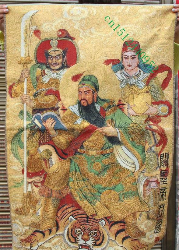 36 Inch Chinese Zijde Borduurwerk Guan Gong Yu Warrior God 2 Guards Thangka Schilderijen Muurschildering