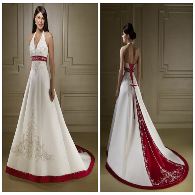 Red And White Lace Wedding Dress: Red And White Satin Wedding Dress Vestidos De Novia Beach
