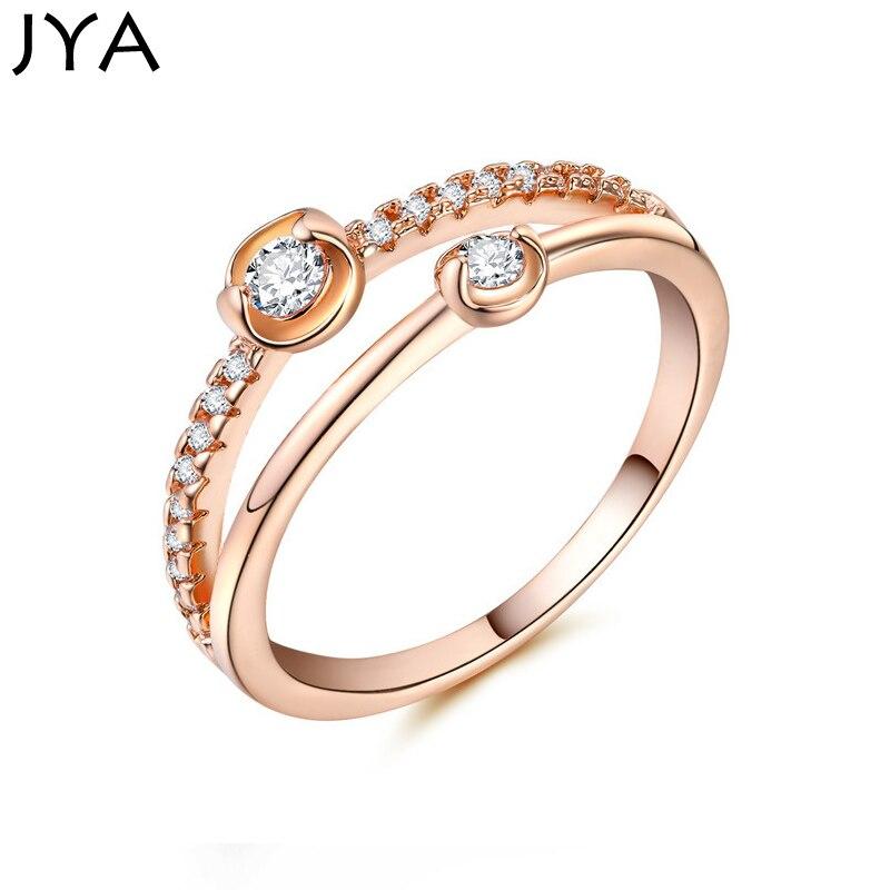 JYA Trendy Original Gemini Star Ring Rose Golden Binary Star Zircon Amazing Reception Engagement Rings for Women Fashion Jewelry