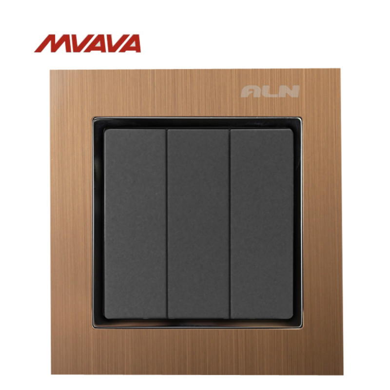 MVAVA 16A Light Switch 3 Gang 1/ 2 Way Lamp Wall Electrical Push Button EU/UK Standard Metal Light Control AC 220V Free Shipping new camber design 2 gang 2 way big push button wall light switch 220v 16a electric switch and lamp switch with fluorescent