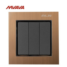 MVAVA 16A Light Switch 3 Gang 1/ 2 Way Lamp Wall Electrical Push Button EU/UK Standard Metal Control AC 220V Free Shipping