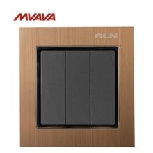 MVAVA 16A Light Switch 3 Gang 1/ 2 Way Lamp Wall Electrical Push Button EU/UK Standard Metal Light Control AC 220V Free Shipping
