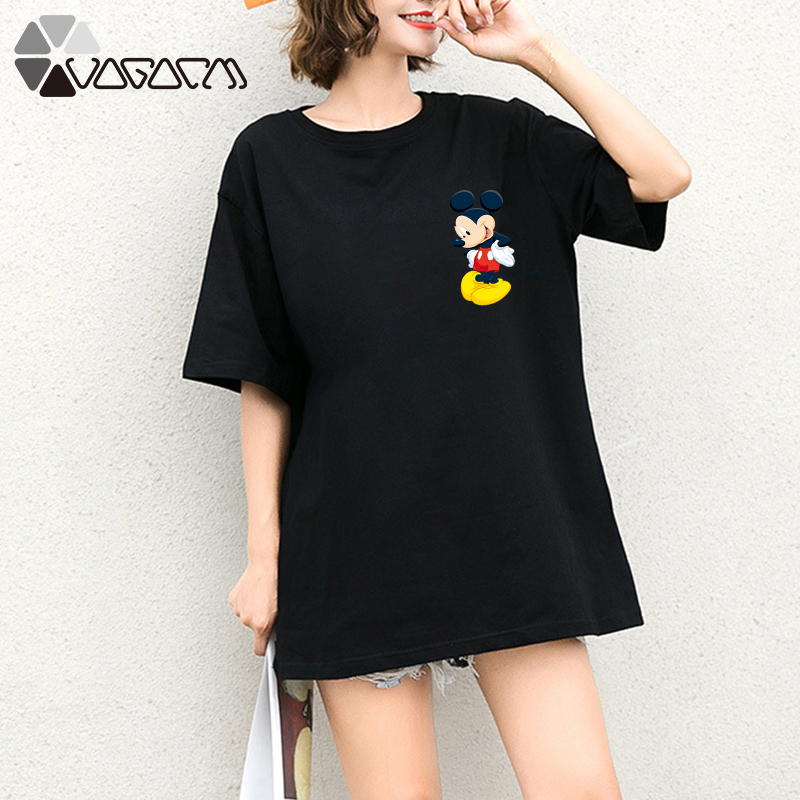 New Summer Clothes Women Mickey Mouse Print Tops Tee Short Sleeve White Loose Cartoon Plus Size T Shirts Casual Vegan Clothing in T Shirts from Women 39 s Clothing