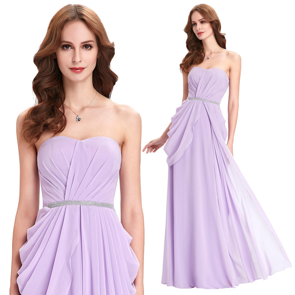 Purple Lavender Long Chiffon Floor Length Bridesmaid Dress 2