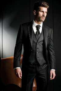 Fnoexw 2016 Groom Tuxedo Black Groomsmen Bridegroom