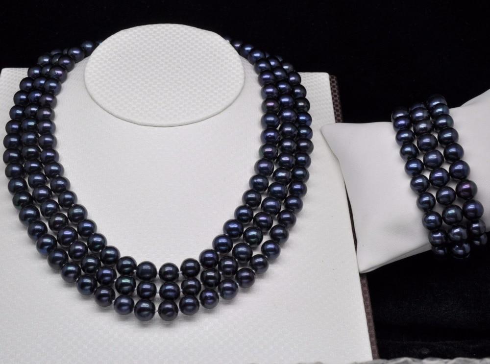 Jolie breloque de mariage pour femmes Jew.656 Noble Triple brin 7-8 MM collier et bracelet en perles noires