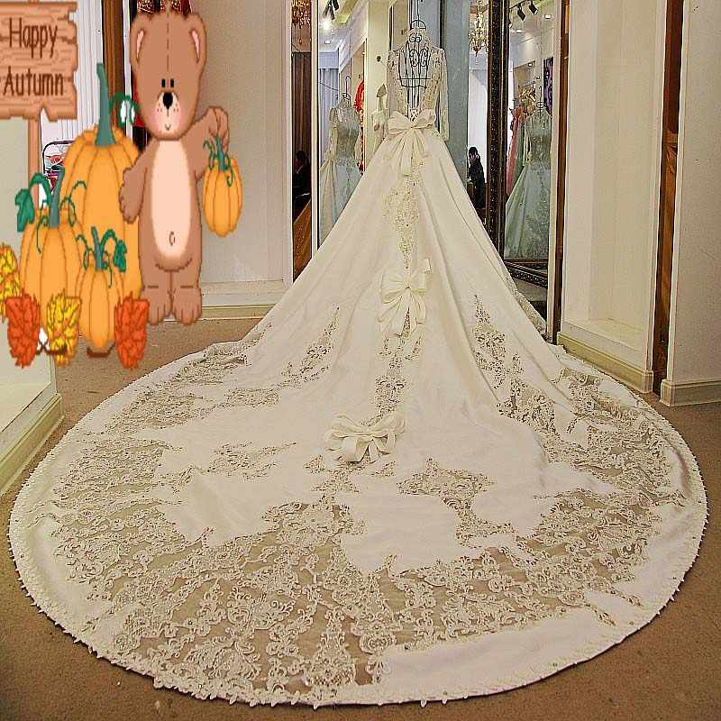 Классические роскошные реальные фото бисерные аппликации банты линии атласные свадебные платья Королевский поезд длиной до пола Длинные платья невесты 2017