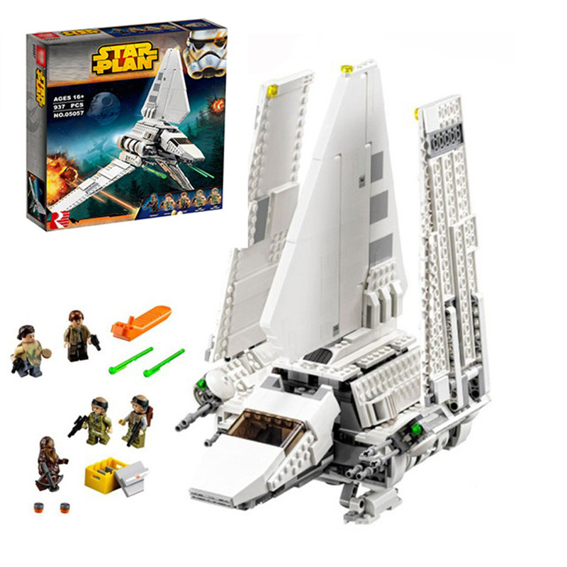 Lepin 05057 937Pcs New Star War Series The Imperial Shuttle Set Model Building Kit Blocks Bricks Toy Compatible Gift With 75094 lepin 16014 1230pcs space shuttle expedition model building kits set blocks bricks compatible with lego gift kid children toy