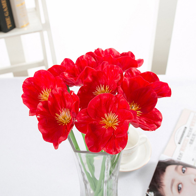 10 PC PU Real Touch Artificial Poppy Flowers bouquet decorative Fake ...