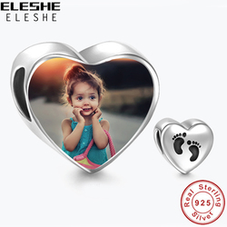 2018 Personalized 925 Sterling Silver Heart Photo Charms Fit Pandora Bracelet Engravable Customize Photo Love Beads DIY Jewelry