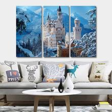ice snow castle oil painting wall art canvas poster and printed Wall Art Pictures for living room decor Poster