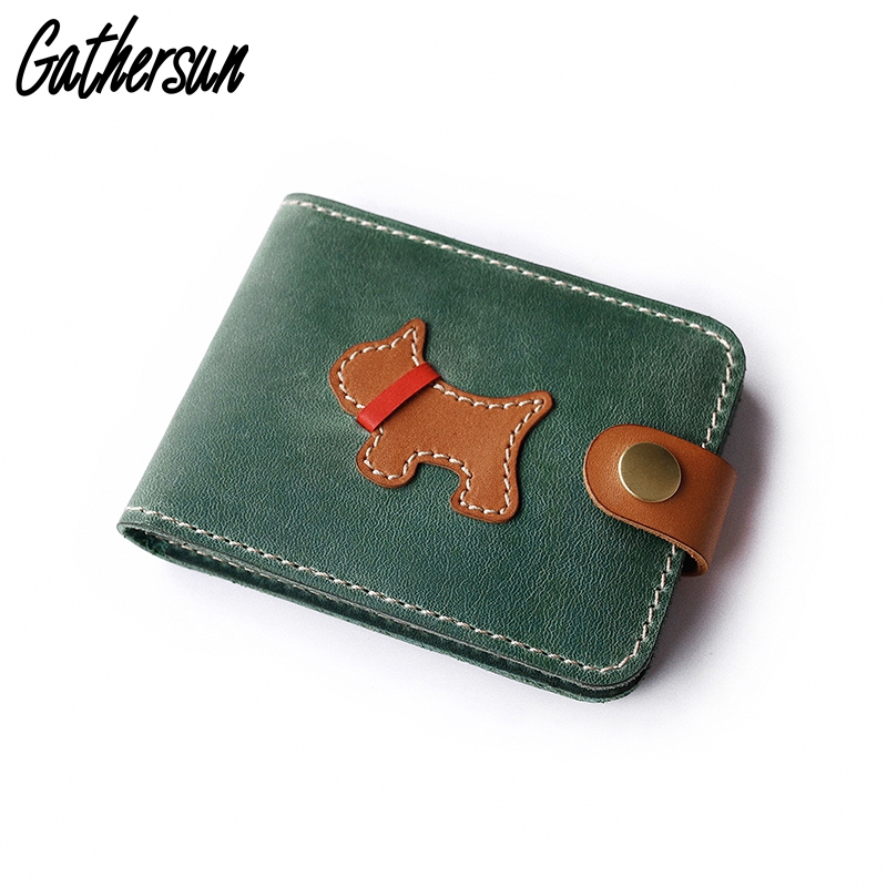 Portefeuille de carte en cuir pour Document automatique porte-carte de crédit mignon chien avec fermeture à pression