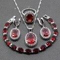925 Moda Prata Esterlina 4 PCS Conjuntos de Jóias Red Garnet Anel de Casamento Das Mulheres Tamanho 6/7/8/9/10 Comprimento Pulseira 19 CM JS28