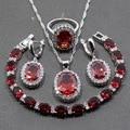 925 Sterling Silver Trendy  Women Wedding 4PCS Jewelry Sets Red Garnet Ring Size 6/7/8/9/10 Bracelet Length 19CM  JS28