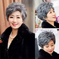 20cm Fashion Women's Curly Wavy Short Wigs For Old Women Cosplay Gray Synthetic Hair natural Cheap Mother Gift Halloween