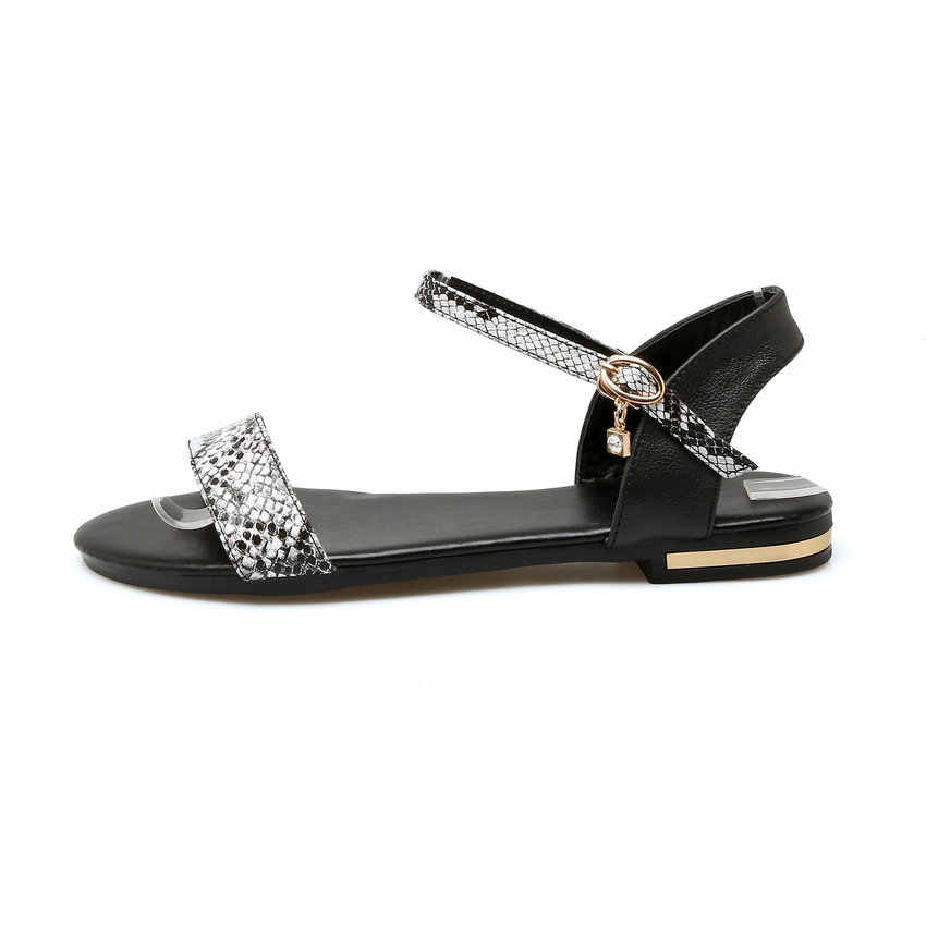 ESVEVA 2020 kadın sandalet karışık renk inek deri PU batı tarzı sandalet düşük topuk ayakkabı yaz sandalet kadın ayakkabı boyutu 34-43