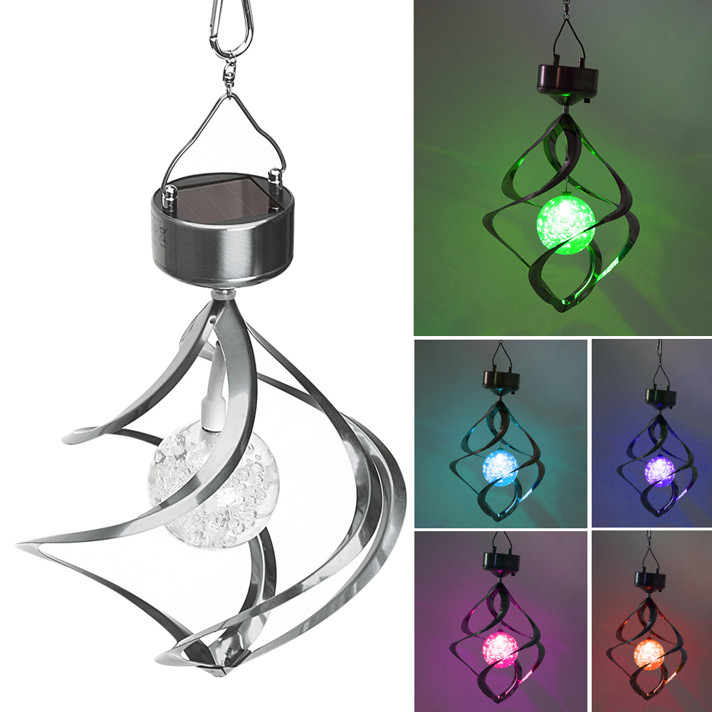 Solar Powered LED Wind Chimes Wind Spinner Outdoor Hanging Spiral Garden Light Courtyard ...