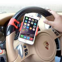 Car Steering Wheel Mount Holder For iPhone 6s motorcycle bike Rubber Band Holder For iphone MP4 GPS Mobile Phone Holder