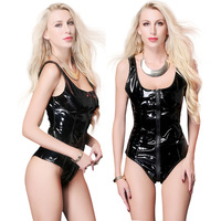 Wetlook Bodysuit Sexy Sleeveless Leather Catsuit Lingerie Zipper to Crotch Sexy Club Black Faux PVC Latex Body Suits for Women