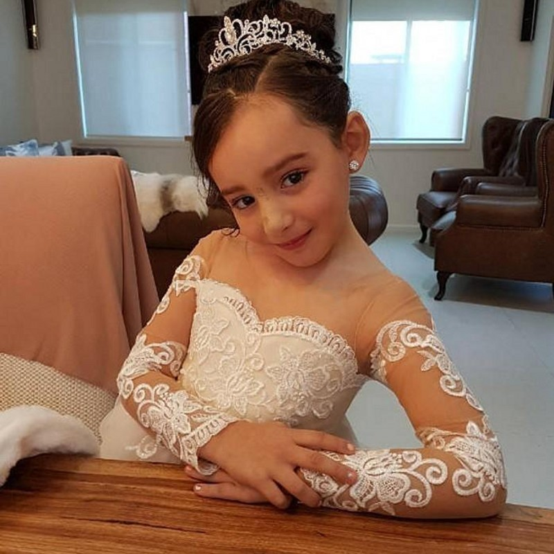 Image 4 - Lovely Long Sleeves Girls Pageant Dresses Appliques Bow Back Ball Gown Flower Girl Dress Illusion Kids Birthday Party Wear-in Flower Girl Dresses from Weddings & Events