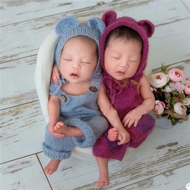 Bebê recém-nascido infantil fotografia adereços menino menina outfits bonito urso chapéu e macacão conjunto macio mohair bebe foto roupas jumsuit