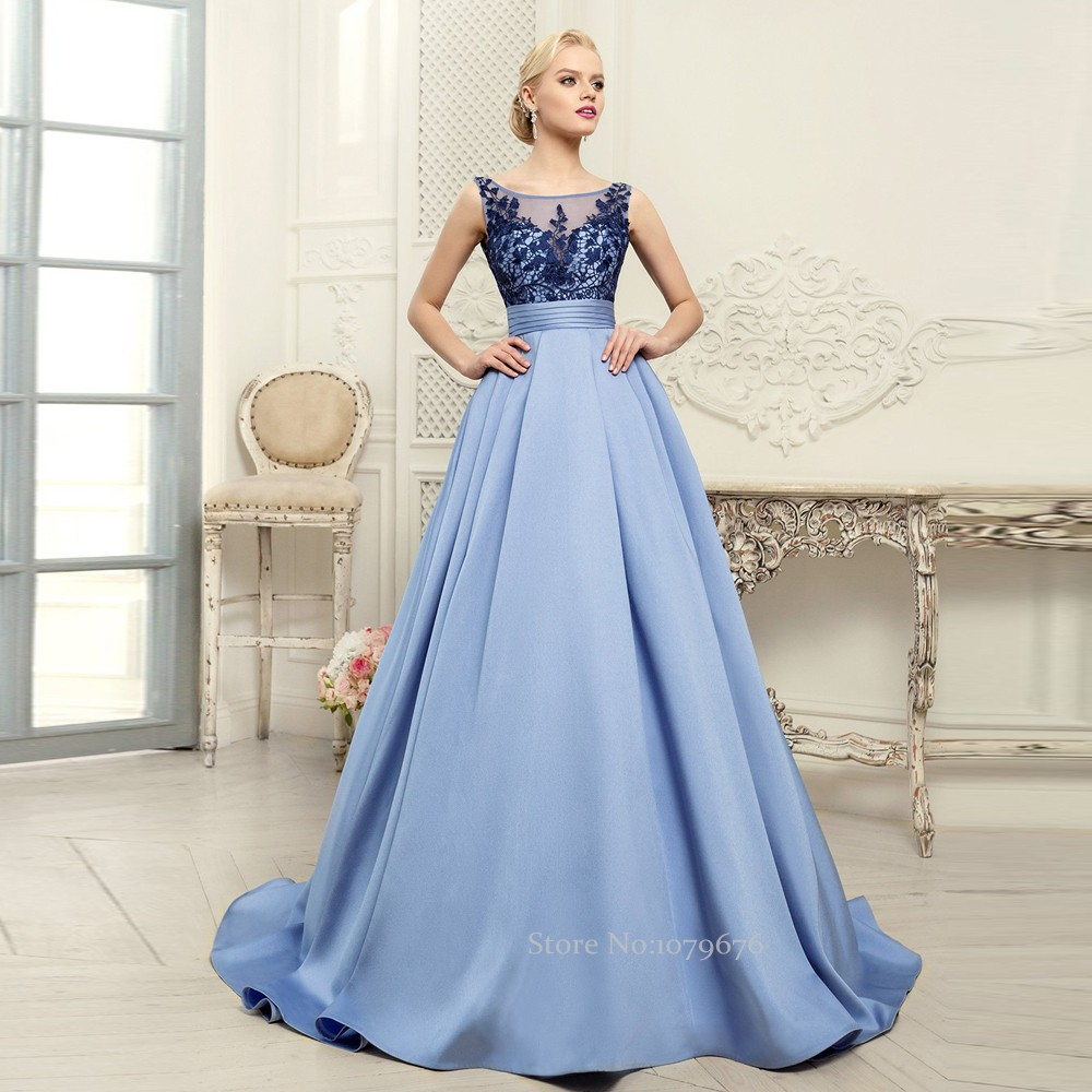 Sleeveless blue prom dress - Prom dress style