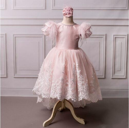 Sparkly pink princess dress lace high low cap sleeves little girl birthday pageant party prom gown with train Ostrich fur light peach allover lace three fourth sleeves dress pink