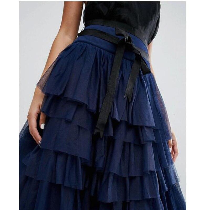 Mujeres Con Azul Faldas Tutu Navy Saia Del Tobillo Baile Tulle Falda Largas Formal Partido Dark Encargo Cinta Tiered Por Sash xqvnR4wT1