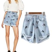 Short femme 2019 nouvelle mode D été HighWaist Déchiré Trou Mickey Mouse  Broderie Court mini jean Pour Femmes pantalon sexy bd6e75c38f2