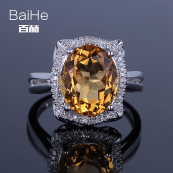 BAIHE Sterling Silver 925 4.58CT Certified Flawless Oval 100% Genuine Citrine Engagement Women Classic Fine Jewelry Ring