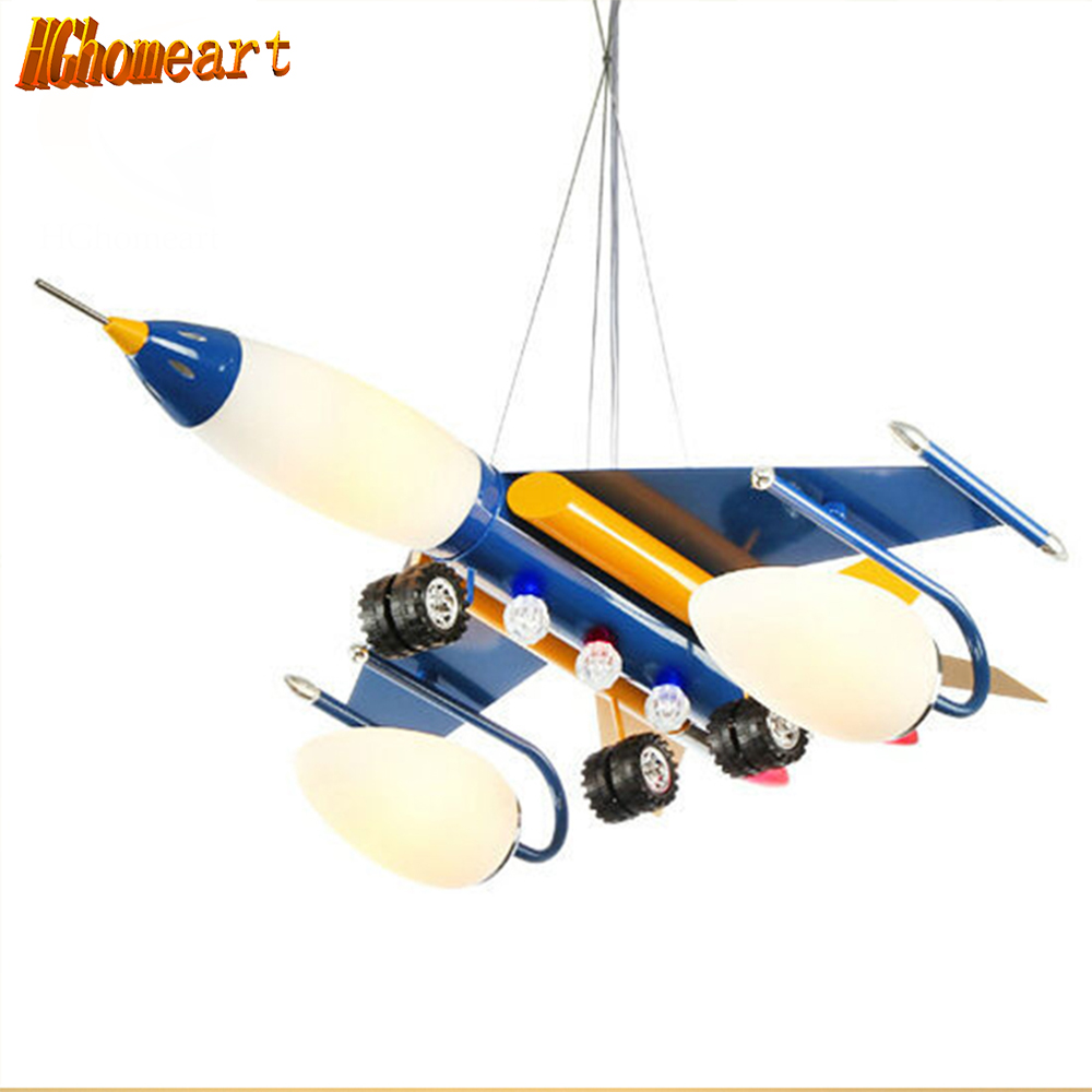 Hghomeart The airplane pendant lamp for children bedroom Pendant Light lamps Cartoon boy room Led modern lighting Children Light hghomeart children room iron aircraft pendant light led 110v 220v e14 led lamp boy pendant lights for dining room modern hanging