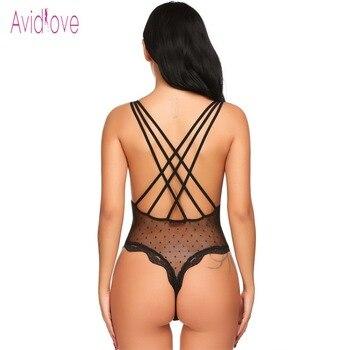 Avidlove Lace Lingerie Sexy Erotic Teddies Bodysuit Women Spaghetti Strap Lace Underwear Nightwear Sex Costume Porno Clothes 3
