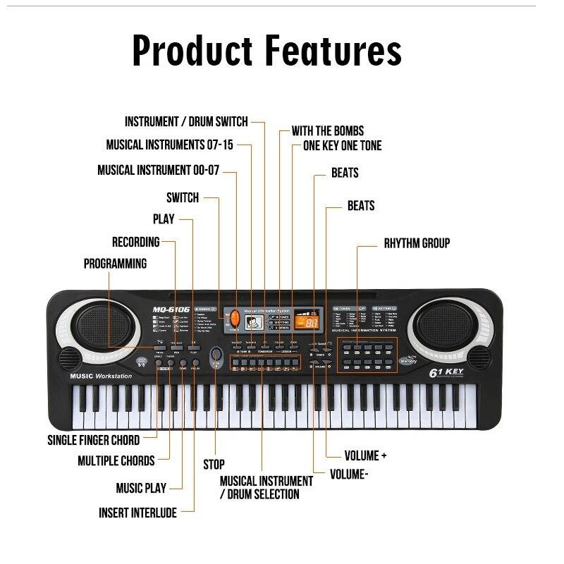 FARFEJI Instruments de musique Piano à piles pour enfants jouets éducatifs Piano électrique