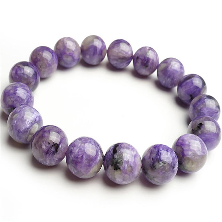 12mm Natural Purple Charoite Gems Stone Stretch Bracelets For Women Charm Fashion Jewelry Crystal Round Beads Ladies Bracelet