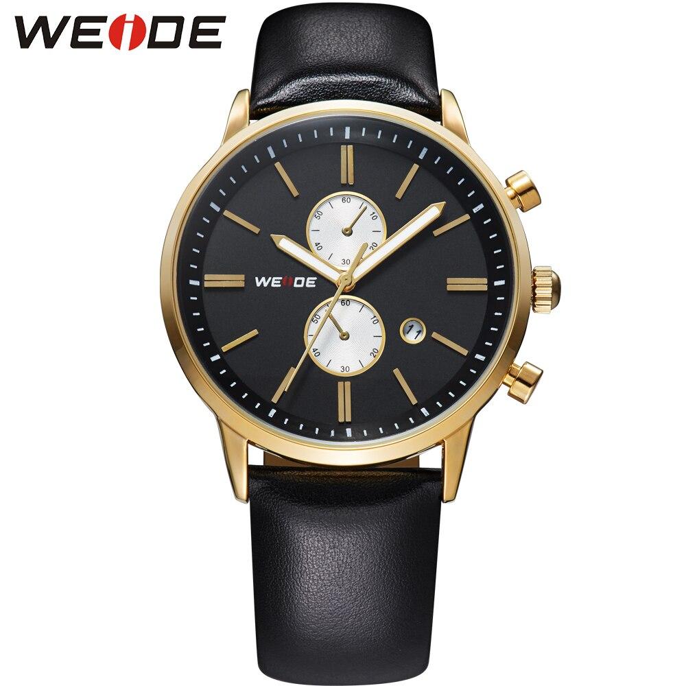 Prix pour Weide marque hommes sport noir calendrier date quartz analogique montres bracelet en cuir hardlex boucle poignet montres armée militaire classique