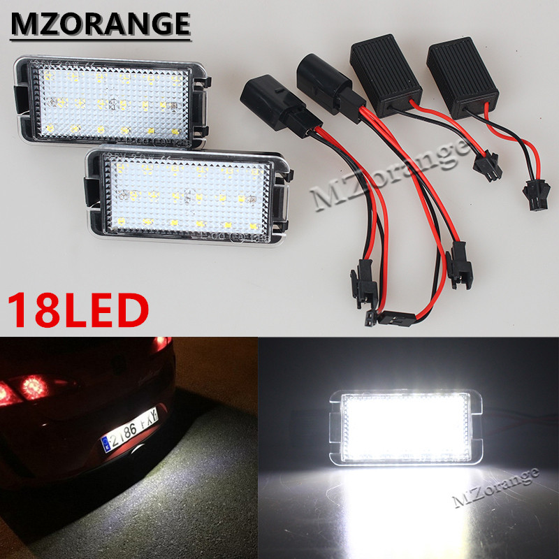 1Pair LED License Plate Light 2X18MD Canbus For 99-05 Seat Leon 1M 04-09 Altea Arosa Cordoba MK1MK2 Ibiza Toledo 5P Super Bright for seat alhambra iii cordoba ibiza v toledo toledo iv scoe 2015 new 2x6smd 5050led license plate light bulb source car styling