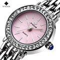 New Top Luxury Brand WWOOR Women Quartz Bracelet Watch Women Dress Watches Ladies Fashion Casual Silver Rhinestones WristWatch
