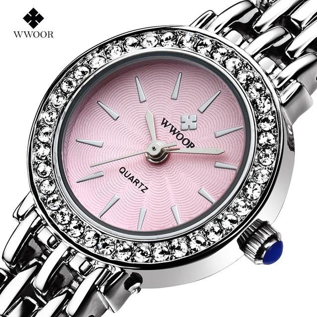 New Top Luxury Brand WWOOR Women Quartz Bracelet Watch Women Dress Watches  Ladies Fashion Casual Silver 76caff5d222f