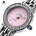Nuevo Top Luxury Brand WWOOR Mujeres Reloj Pulsera de Cuarzo Vestido de Las Mujeres Relojes Moda Casual Plata Rhinestones Reloj de pulsera